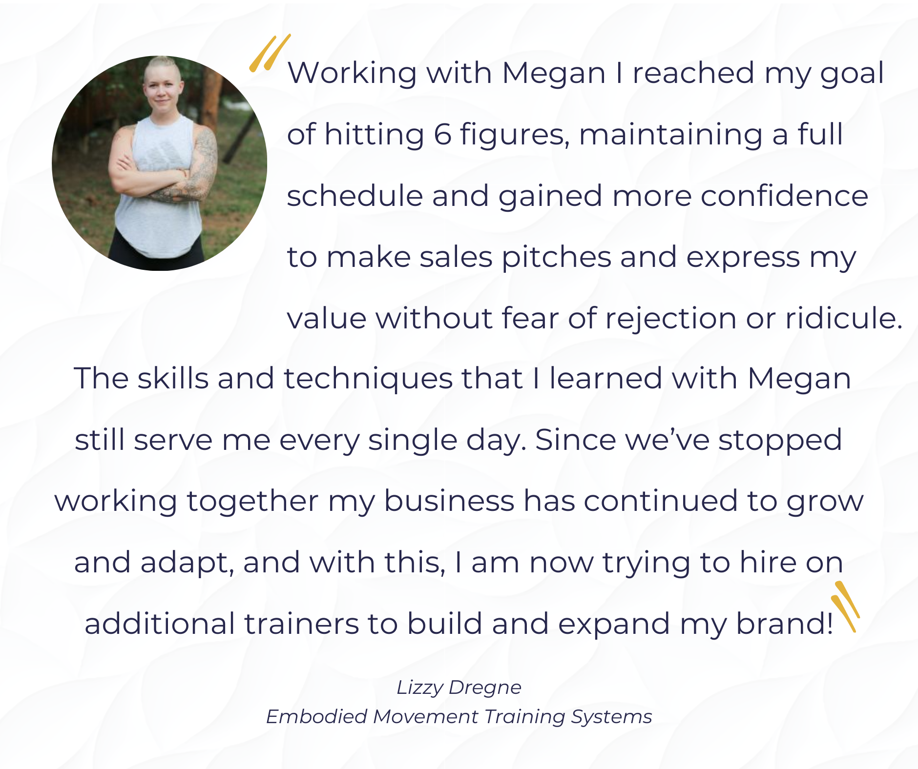Lizzy Testimonial confidence building business coach for solopreneurs